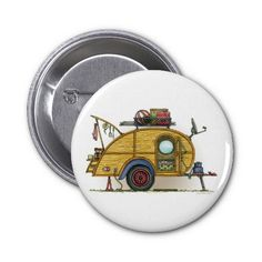 Vintage Travel Trailers | Cute RV Vintage Teardrop Camper Travel Trailer Buttons from Zazzle.com