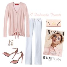 """Etcetera: A delicate touch of pink. ZEN sweater with BIANCA white jean."" by etcetera-nyc ❤ liked on Polyvore featuring Etcetera, Vivienne Westwood, Allurez, casuallifestyle, spring2016, etceteracollection and etceteranyc"
