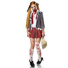 Cosplay Kostumer / Party-kostyme Zombie / Vampyrer Halloween Kostumer Rød / Hvit VintageFrakk / Genser / Skjørte / Hansker / Sokker / 5169917 2016 – kr.201