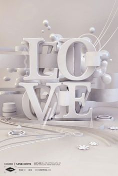 LOVE white on white 3d typo