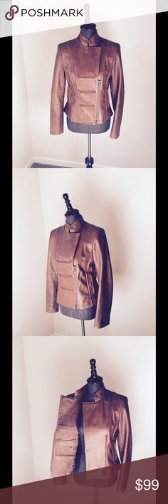 WORTH Brown Leather Military Moto Jacket A sleek and sophisticated look, this leather piece is undeniably chic. Make a fab look with some denim leggings and heels. WORTH Jackets & Coats