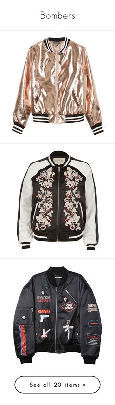 """""""Bombers"""" by abianalmeidas ❤ liked on Polyvore featuring outerwear, jackets, rose gold, blouson jacket, lined bomber jacket, brown faux leather jacket, bomber jacket, vegan jackets, tops and river island"""
