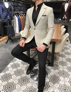 Terziademaltun - İtalyan stil erkek slim fit blazer gri tek ceket - Men's style Blazer Outfits Men, Mens Fashion Blazer, Stylish Mens Outfits, Suit Fashion, Men Blazer, Mens Blazer Styles, Black Outfits, Fashion Photo, Casual Outfits