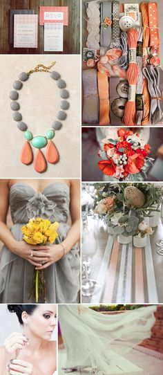 coral, grey. love the pops of yellow and teal. Sweet idea for wedding or even sweet 16 LOVELOVE LOVE LOVE LOVE!!!!!