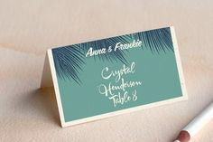 Retro Hawaii Wedding Place Cards