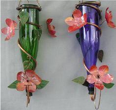 hummingbird feeders out of recycled wine bottles @K D Eustaquio Balachowski and @Carmen Yee Yee Forshey