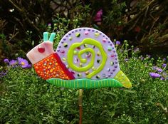 """Kirk's Glass Art - Fused Glass Whimsical Snail, approximately 8"""" x 6"""" ($59)"""
