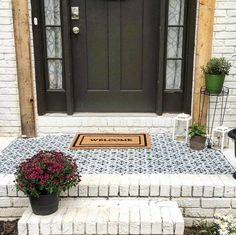 It's important to make a good first impression! Have your neighbors swoon over your house the minute they walk up those front steps! Who's ready to stencil their patio? Large Wall Stencil, Stencil Decor, Stencil Painting On Walls, Diy Painting, Tile Stencils, Stencil Patterns, Tile Patterns, Concrete Front Steps, Concrete Patio
