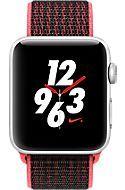 Apple Watch Series 3, 42mm Silver Aluminum Case with Bright Crimson/Black Nike Sport Loop, Silver/Bright Crimson