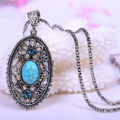 Newly Arrival Tibetan Hollow Turquoise Pendant Necklace With Jewelry Chain - Color Antique Silver NL-0342