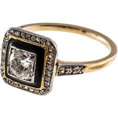 Art Deco Black Enamel Diamond Yellow Gold Platinum Ring ❤ liked on Polyvore featuring jewelry, rings, art deco rings, gold jewelry, enamel gold ring, art deco diamond rings and art deco gold ring