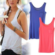 Wholesale New Hot Womans Lady Women Sexy Casual Fluorescent Colors Sleeveless Pocket Tank Vest Top T-Shirt Free shipping $7.08