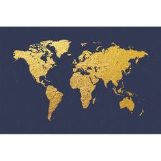 """East Urban Home World Map Series: Gold Foil On Denim by Michael Tompsett Graphic Art on Wrapped Canvas Size: 18"""" H x 26"""" W x 0.75"""" D"""