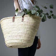 Image of french market basket - flat handle