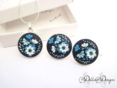 Midnight * Unique Polymer Clay Set * Sterling Silver Earrings and Pendant * Floral Filigree Set * Spring Jewelry * Unique Gift * Floral