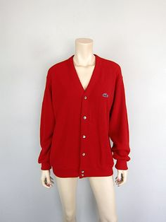Vintage 1970s Izod Lacoste Red Cardigan by CkshopperVintage, $40.00