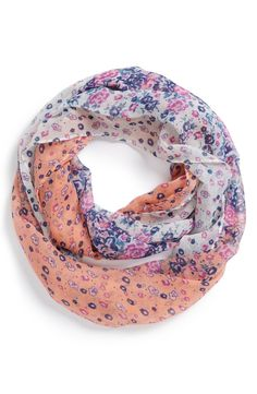 Adore the flower print on this darling infinity scarf.