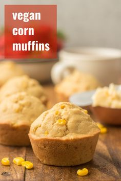 These vegan corn muffins are tender, crumbly, and slightly sweet! Super easy to make and the perfect side to serve with a big bowl of soup or chili. This easy baking project only takes about 30 minutes! Vegan Dessert Recipes, Delicious Vegan Recipes, Vegan Snacks, My Recipes, Baking Recipes, Whole Food Recipes, Bread Recipes, Delicious Dishes, Brunch Recipes