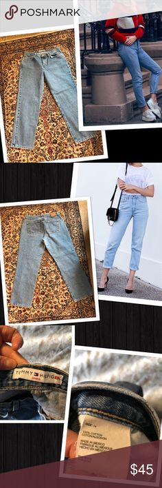 """Vintage Tommy Hilfiger high waisted Mom jeans Model pics are solely for a few styling tips! Vintage high waisted Mom jeans! Size 14, See measurements in pics, they are vintage and I would say more suited to today's size 10/12. 30"""" inseam, perfect for the rolled cuff! Bring out the chunky belt, tuck in a tee shirt and a pair of peep toe booties! Or the classic blazer with rolled sleeves and a pair of stacked heels! Or keep it simple and bring out the converse! I can see at least 3 outfits in…"""