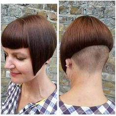 Untitled Stacked Bob Hairstyles, Wedge Hairstyles, Undercut Hairstyles, Braided Hairstyles, Shaved Bob, Shaved Nape, Short Hair Cuts, Short Hair Styles, Bowl Haircuts