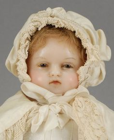 Early English Poured Wax, Rare Brown-eyed Baby Doll