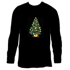 Men Sound Activated LED Light up Celebrate Merry Christmas Long Sleeve T-shirt