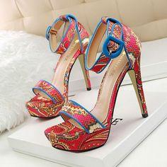 LAKESHI Platform Summer Peep Toe Sandals