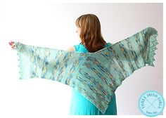 This pretty and wearable L-shaped wrap is easy to knit like a rectangular stole (no shaping), yet it wraps around your shoulders with extra coverage. The wool blend provides lovely drape for just the extra layer you need when breezes blow or when the air conditioning is on too high.