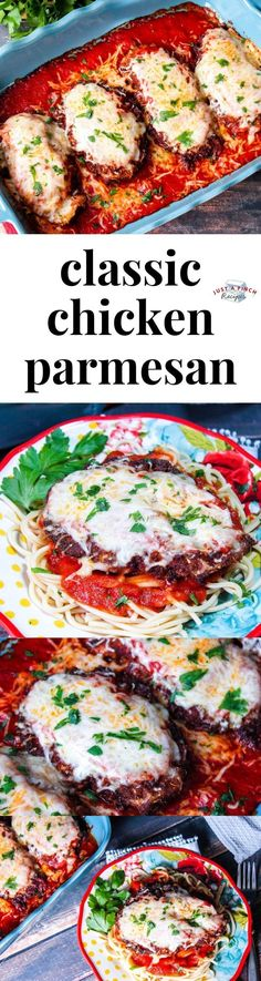 Chicken Parmigiana (Parmesan) Chicken Parmigiana (Parmesan) is a classic family dinner recipe that is my absolute favorite! Nothing can beat mom's chicken parm recipe. Crisp, golden-brown chicken topped with marinara sauce and mozzarella…yum! Great Chicken Recipes, Chicken Parmesan Recipes, Garlic Chicken, Pasta Dishes, Food Dishes, Main Dishes, Chicken Parmigiana, Best Casseroles, Marinara Sauce
