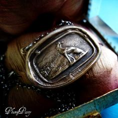 Greyhound Wax Seal Necklace in bronze and silver - Dog wax seal pendant - Plum and Posey Inc.
