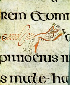 Kells 64 book lion in text miniature Dublin Ireland Celtic Symbols, Celtic Art, Medieval Manuscript, Illuminated Manuscript, Le Book, Celtic Mythology, Book Of Kells, Dublin Ireland, Art Reference
