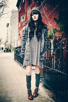 striped dress c/o Free People, camo jacket c/o O'neill, boots c/o Le Bunny Bleu, socks by Ti Mo