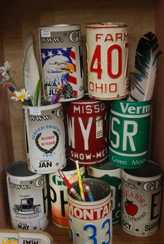 Upcycled License plate cups. Looking for vintage license plates? Go to https://www.etsy.com/shop/AmericanAntique?ref=hdr_shop_menu&search_query=license+plate from as low as $5 each.
