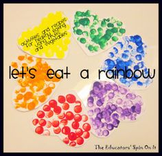 Let's Eat a Rainbow~ Activities and Resources for healthy nutrition by making a rainbow with foods on your plate
