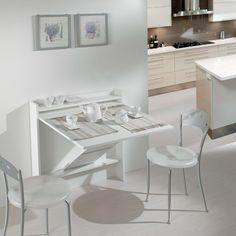 Consolle trasformabile in tavolo snack Secret - consolle aperta - finitura laminato effetto legno bianco venato