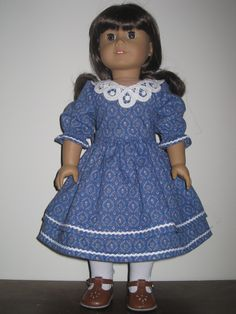Old Fashioned Dress with Vintage Battenberg Lace Collar for American Girl and Similar 18 Inch Dolls. $32.00, via Etsy.