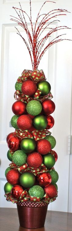Christmas Ornament Topiary - so cute by marjorie