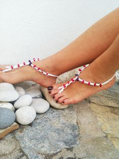 Colored wooden beads macrame Foot jewelry Anklet by ArtofAccessory, $15.00