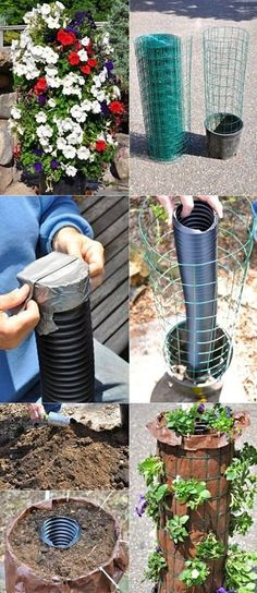 DIY Blumenturm ❧ The Flower Tower and a watering feature., - DIY Blumenturm ❧ The Flower Tower and a watering feature. Water Flowers, Diy Flowers, Flower Pots, Flower Ideas, Flower Planters, Spring Flowers, Container Gardening Vegetables, Vegetable Garden, Herb Garden