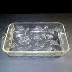 McKee Flamex Sears and Roebuck Floral Embossed Rectangular Baking Dish