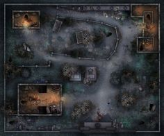 Top down shooter map on Behance Dungeon Tiles, Dungeon Maps, Fantasy Landscape, Landscape Art, Fallout, Rpg Cyberpunk, Top Down Game, Shadowrun Rpg, Pathfinder Maps