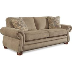 The Pembroke sofa offers classic club styling details that are hard to resist. Flared rolled arms, brass nail head trim and decorative wood feet. Premier Sofa, Decor, Sofa Furniture, Affordable Furniture, Rolled Arm Sofa, Comfy Sofa, Sofa, Furniture, Love Seat