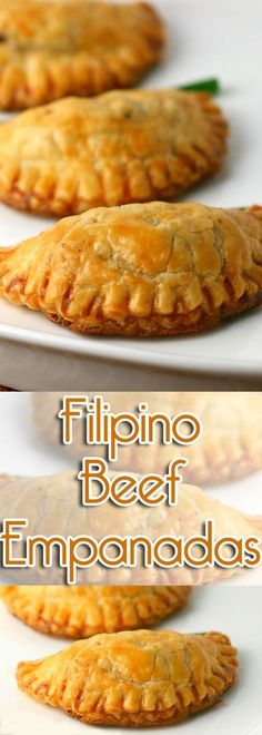These Filipino Beef Empanadas are encased in a flaky pastry dough and filled with a simple filling of beef and potatoes. They are normally deep-fried, but they can be baked as well. Filipino Empanada, Filipino Food, Filipino Appetizers, Filipino Desserts, Filipino Recipes, Lumpia Recipe Filipino, Filipino Christmas Recipes, Asian Recipes, Deep Fried Desserts