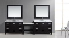 Buy the Design Element Espresso Direct. Shop for the Design Element Espresso London Free Standing Vanity Set with Marble Tops, Two Undermount Sinks, Two Matching Mirrors and Make-Up Table and save. Vanity Set With Mirror, Bathroom Sink Vanity, Single Bathroom Vanity, Single Vanities, Sinks, 48 Vanity, Modern Bathroom, Bathroom Ideas, Free Standing Vanity