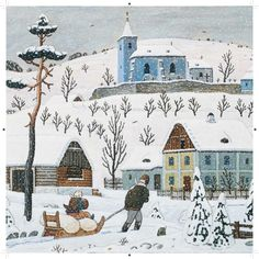 Josef Lada Snow Scenes, Winter Scenes, Illustration Art, Illustrations, Naive Art, Russian Art, Typography Prints, Christmas Greetings, Folk Art