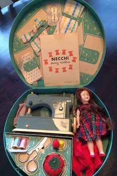 Vintage Necchi Supernova Toy Sewing Machine with Accessories 1950's.