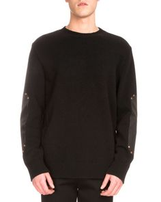 GIVENCHY Leather-Patch Studded Crewneck Sweater, Black. #givenchy #cloth #