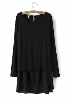Black Chiffon Blending Round Neck Long Sleeve Patchwork TOPS