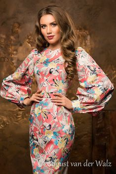 "Spring-summer with super stylish design from my collection ""Smell of summer"" stylish and trendy women's casual dress. Bodycon Midi dress with f. Floral Sheath Dress, Bodycon Fashion, Ladies Dress Design, Casual Dresses For Women, Evening Dresses, Spring Summer, Stylish, Trending Outfits, Women's Casual"