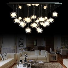 JiaYouJia DoubleLayer Oval Glass Shaded Square Pendant -- Read more at the image link.-It is an affiliate link to Amazon. #DiningRoomLighting